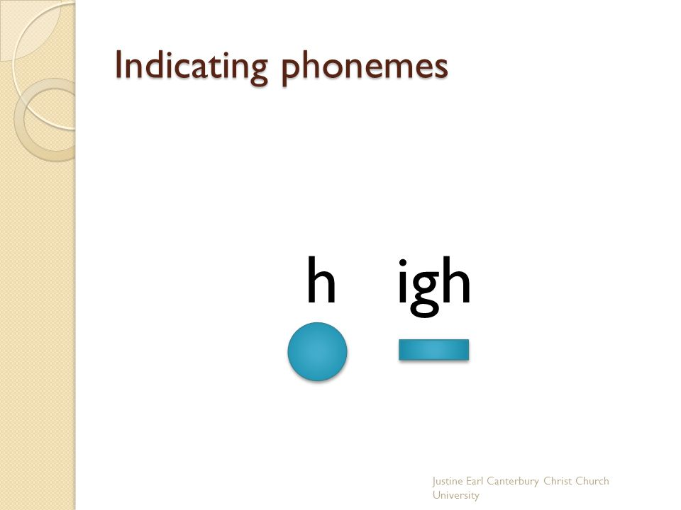 h igh Indicating phonemes