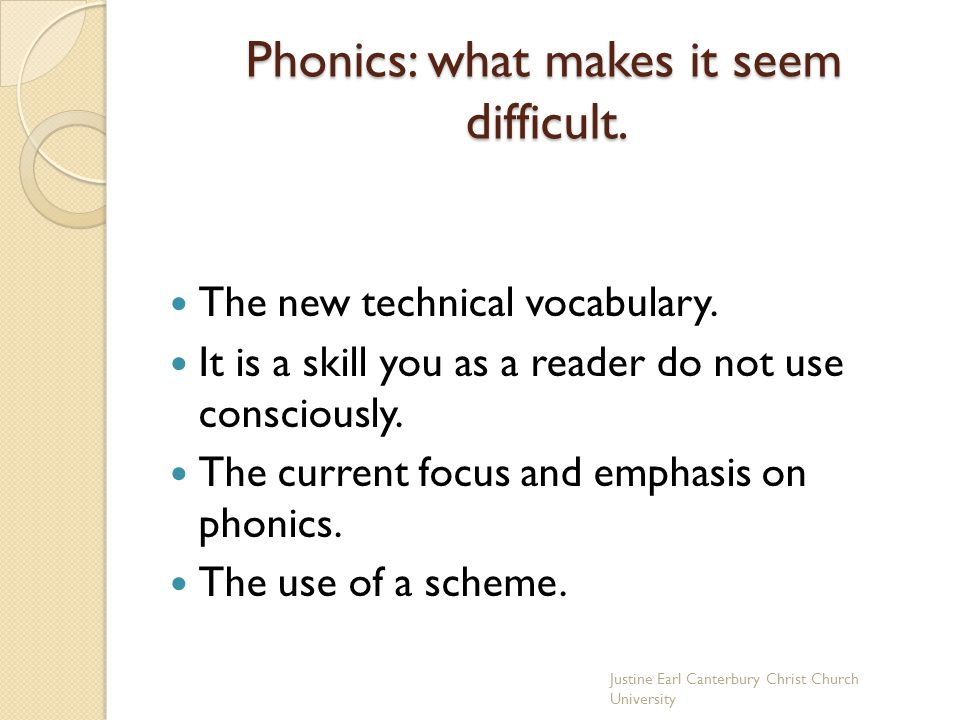 Phonics: what makes it seem difficult.
