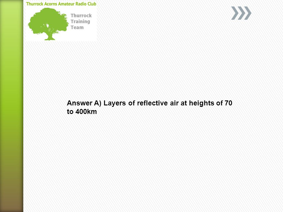 Answer A) Layers of reflective air at heights of 70 to 400km