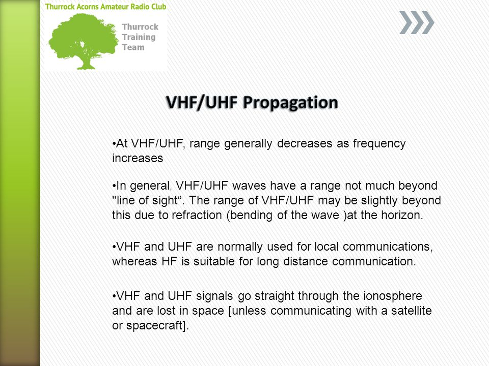 VHF/UHF Propagation At VHF/UHF, range generally decreases as frequency increases.
