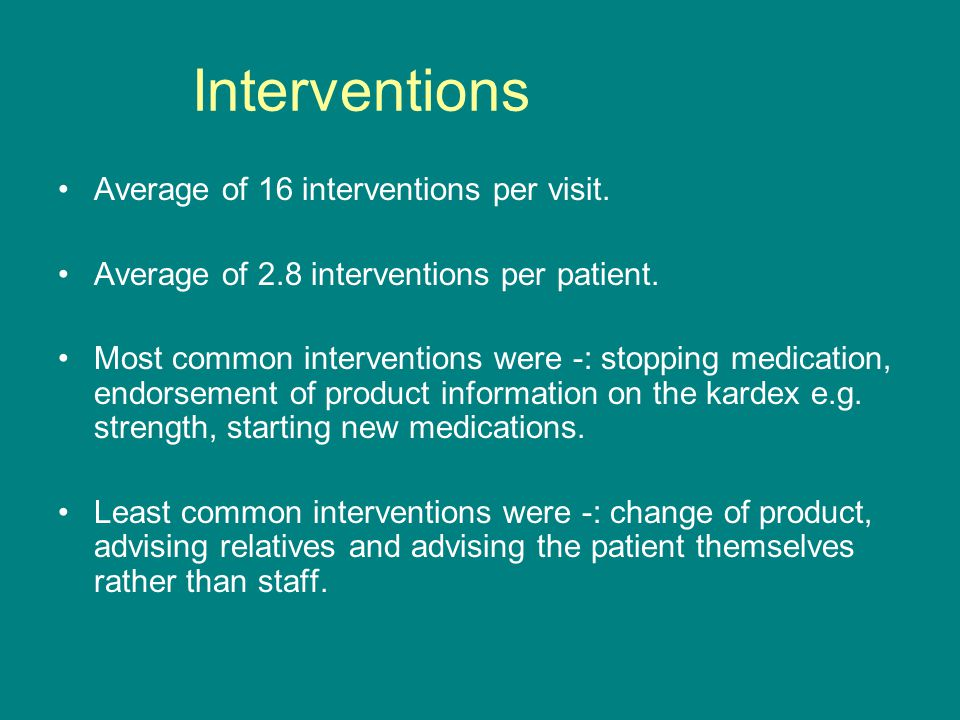Interventions Average of 16 interventions per visit.