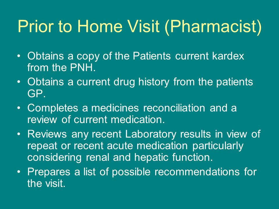 Prior to Home Visit (Pharmacist)