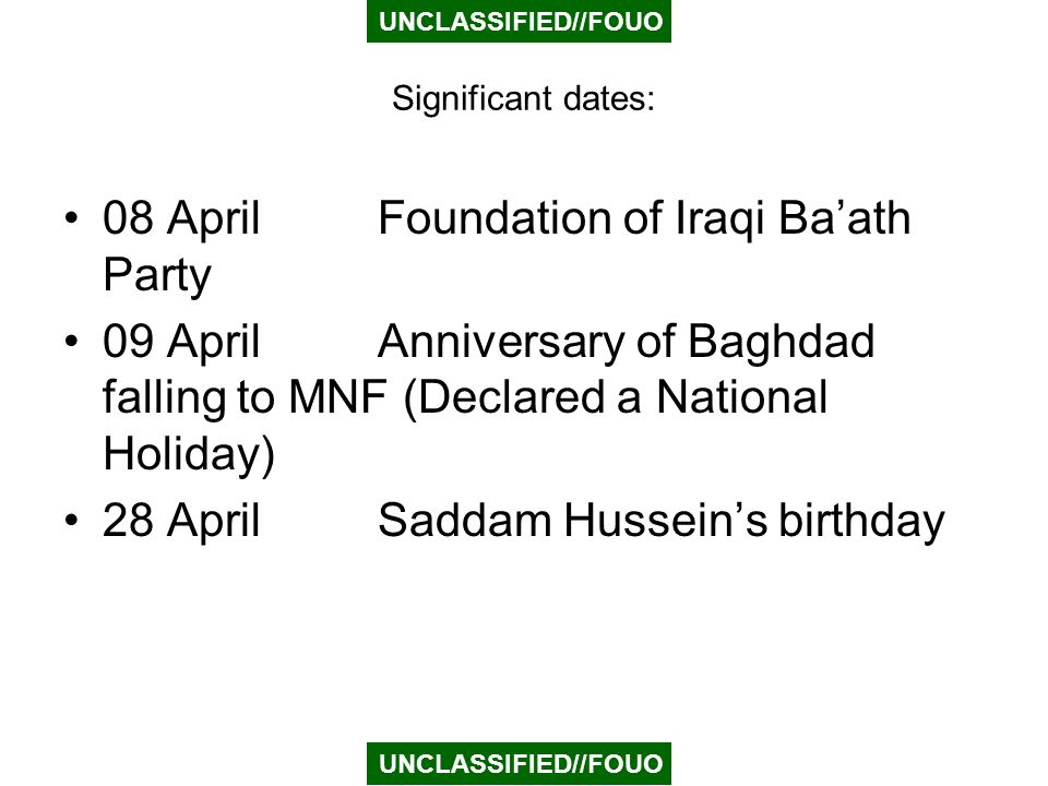 08 April Foundation of Iraqi Ba'ath Party