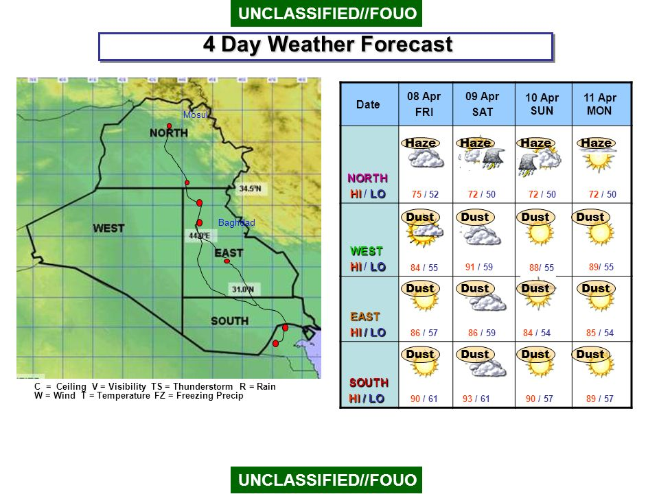 4 Day Weather Forecast UNCLASSIFIED//FOUO FOG UNCLASSIFIED//FOUO Haze