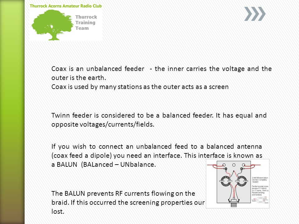 Coax is an unbalanced feeder - the inner carries the voltage and the outer is the earth.