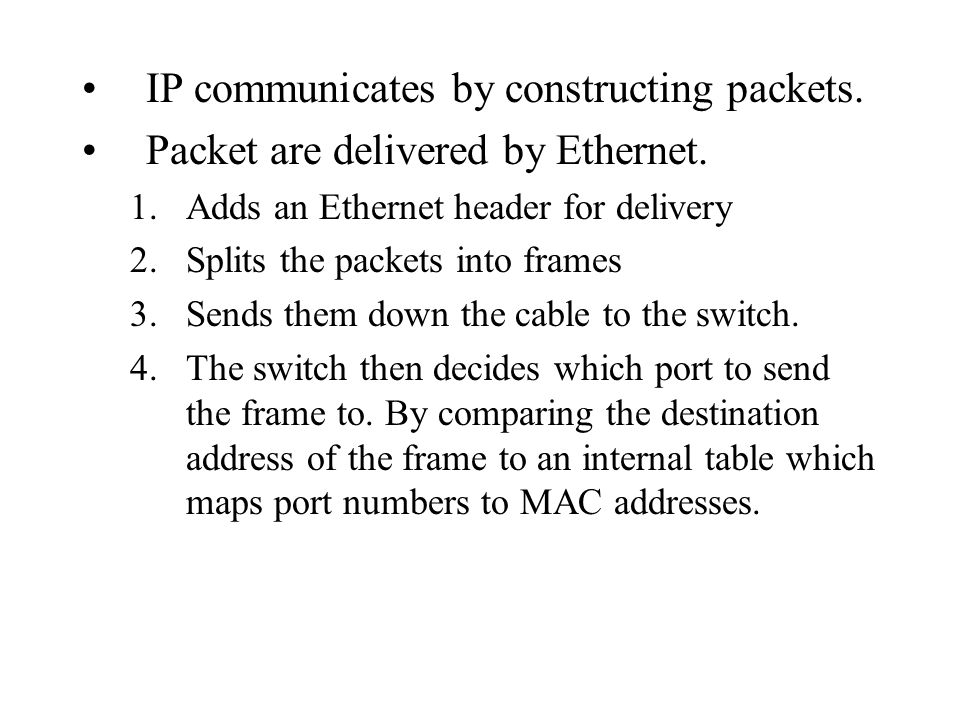 IP communicates by constructing packets.