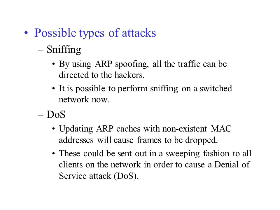 Possible types of attacks