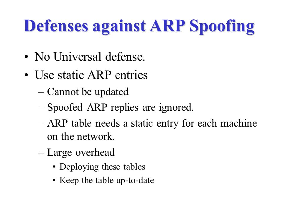 Defenses against ARP Spoofing