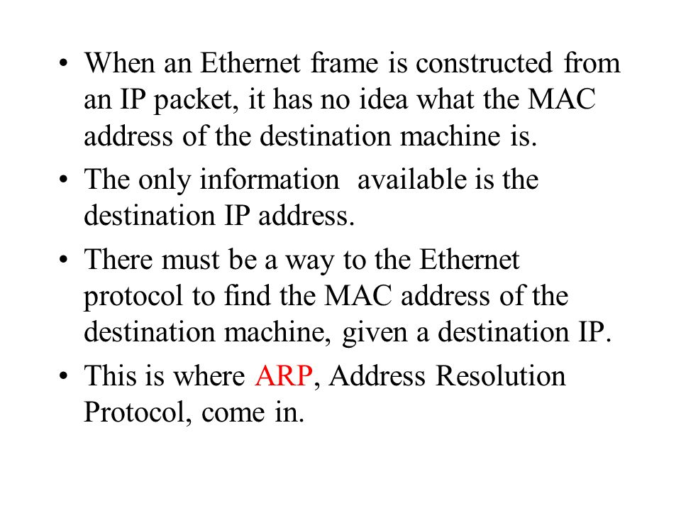 When an Ethernet frame is constructed from an IP packet, it has no idea what the MAC address of the destination machine is.