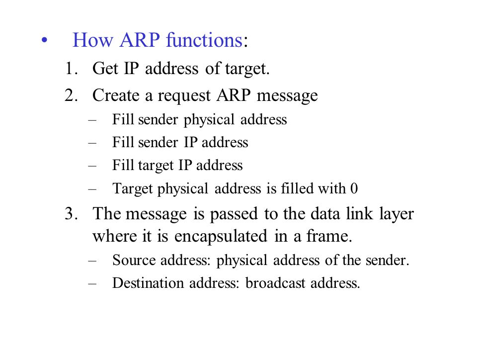 How ARP functions: Get IP address of target.