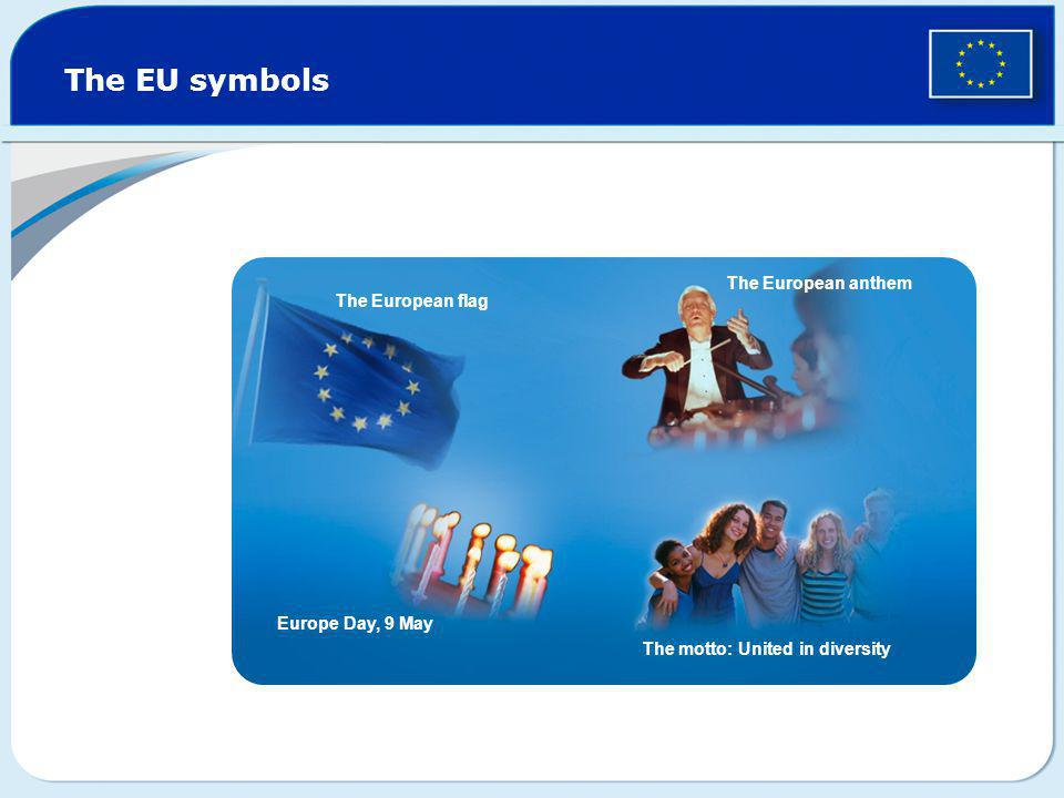 The EU symbols The European anthem The European flag Europe Day, 9 May