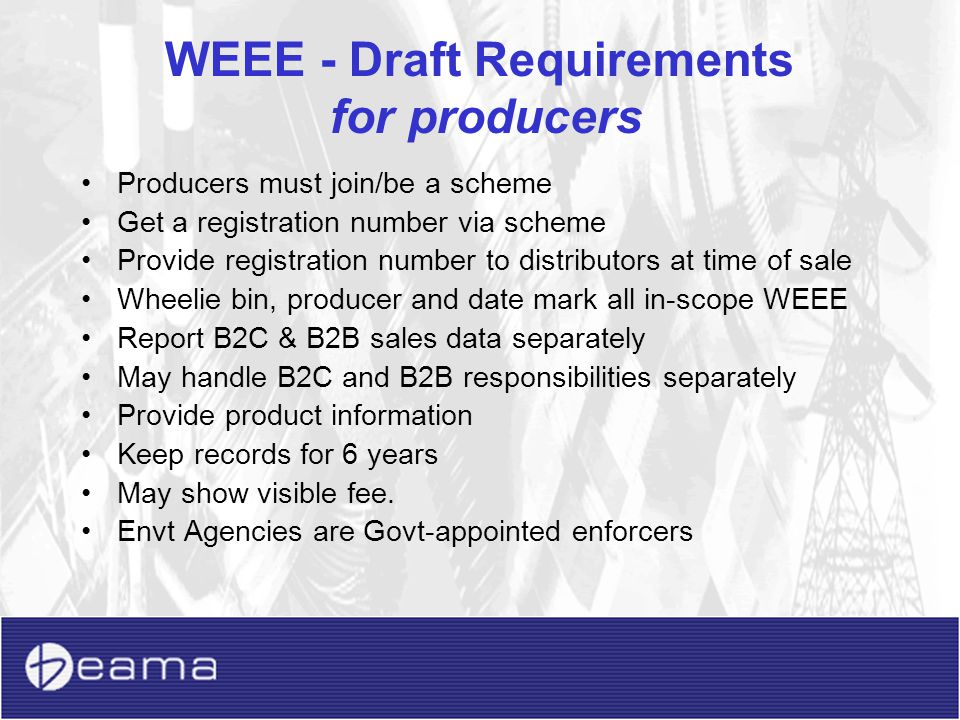 WEEE - Draft Requirements for producers