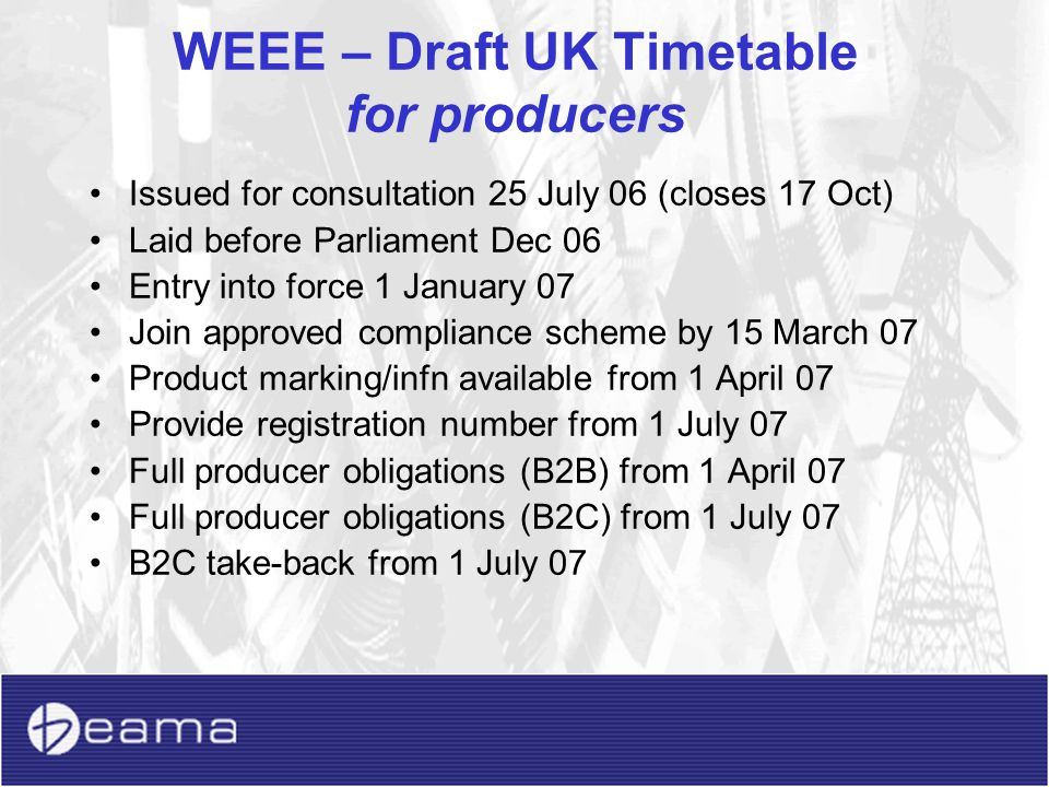 WEEE – Draft UK Timetable for producers