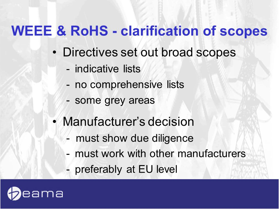 WEEE & RoHS - clarification of scopes