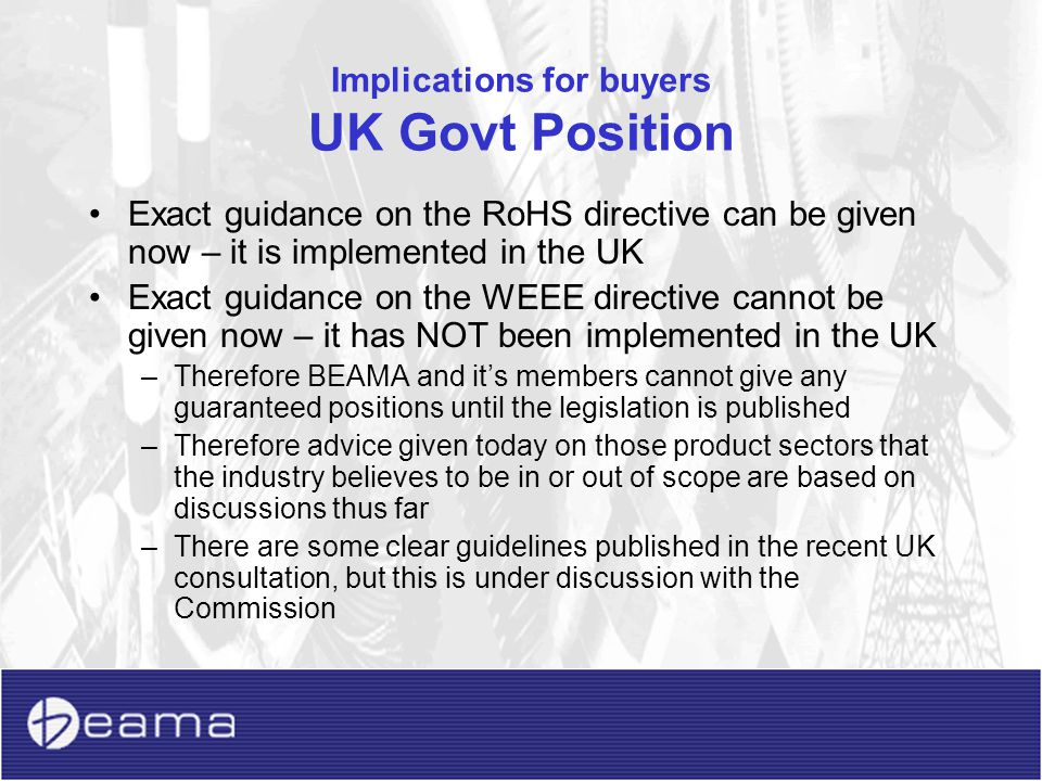 Implications for buyers UK Govt Position