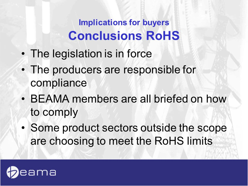 Implications for buyers Conclusions RoHS
