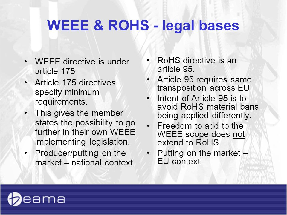 WEEE & ROHS - legal bases