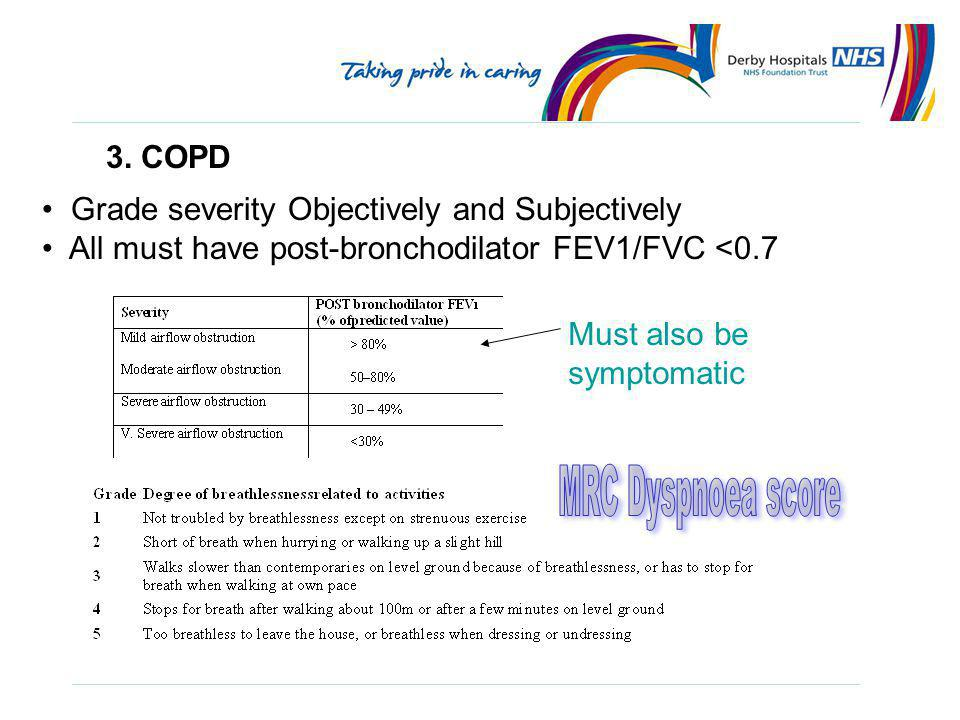 MRC Dyspnoea score 3. COPD Grade severity Objectively and Subjectively