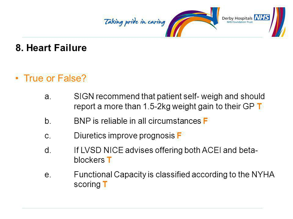 8. Heart Failure True or False