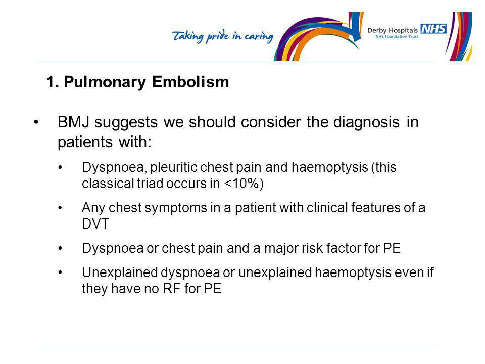BMJ suggests we should consider the diagnosis in patients with: