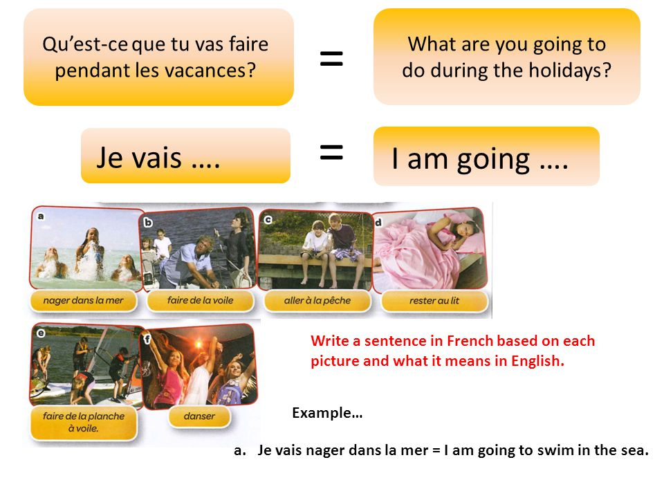 = Qu'est-ce que tu vas faire pendant les vacances What are you going to do during the holidays =