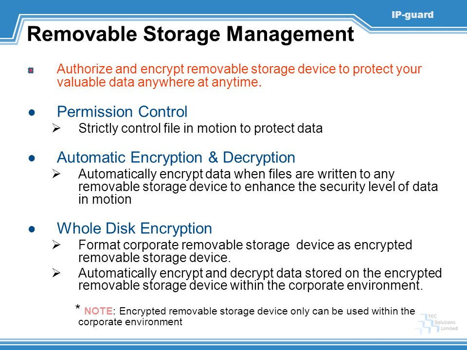 Removable Storage Management