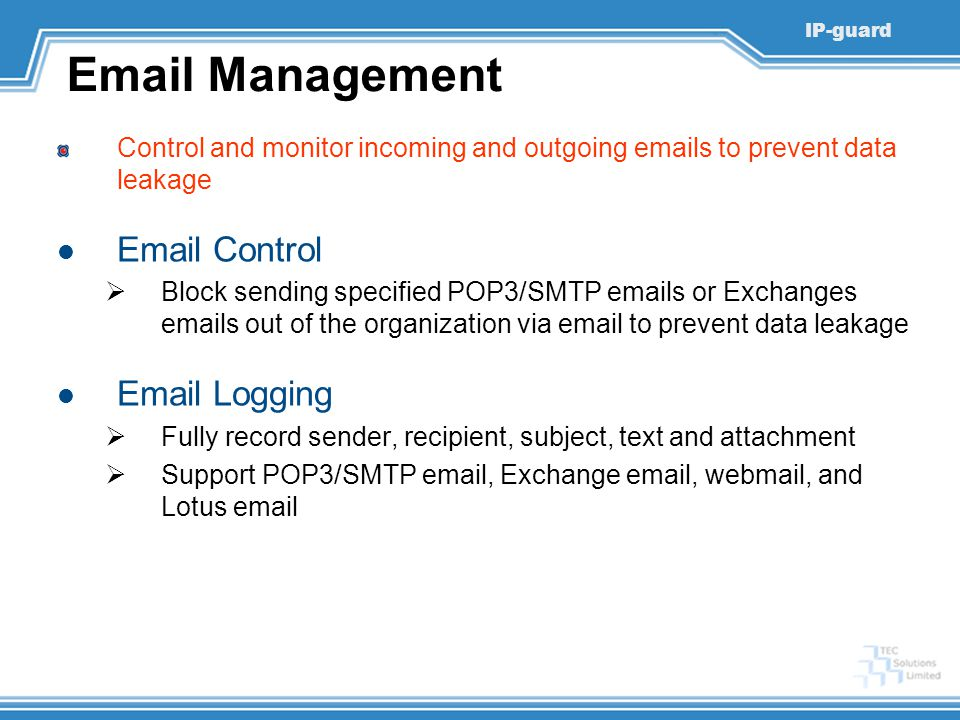 Email Management Email Control Email Logging