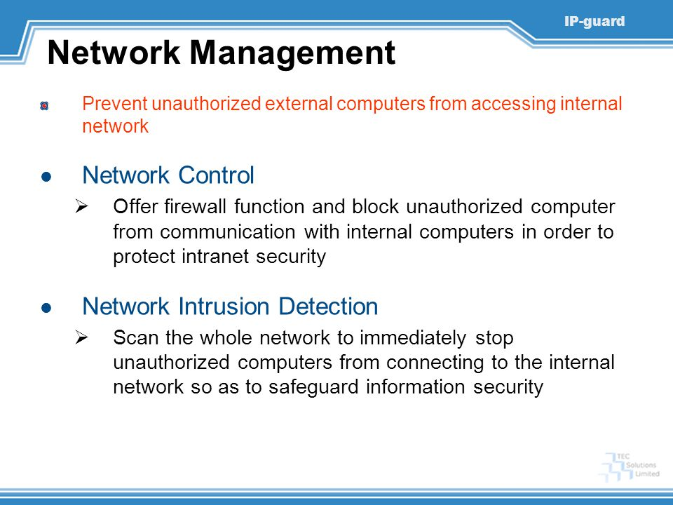 Network Management Network Control Network Intrusion Detection
