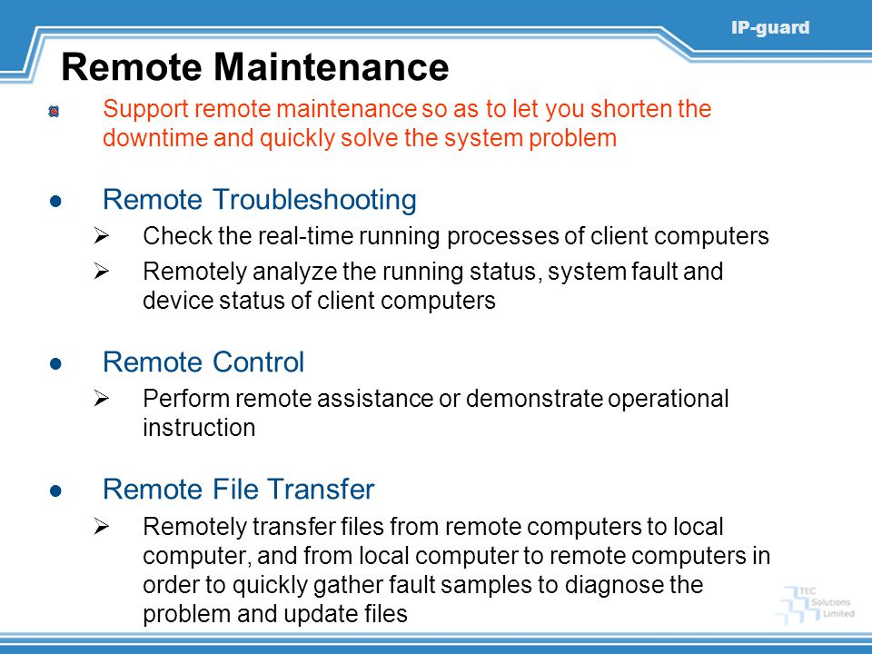 Remote Maintenance Remote Troubleshooting Remote Control