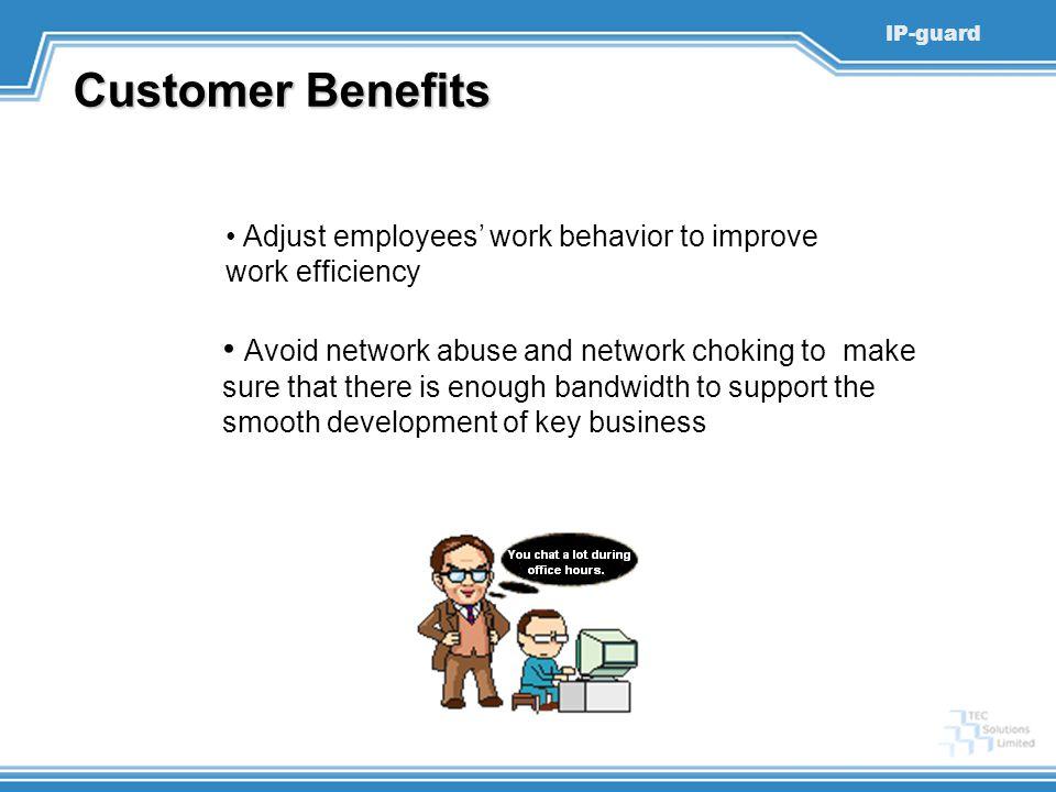 Customer Benefits Adjust employees' work behavior to improve work efficiency.