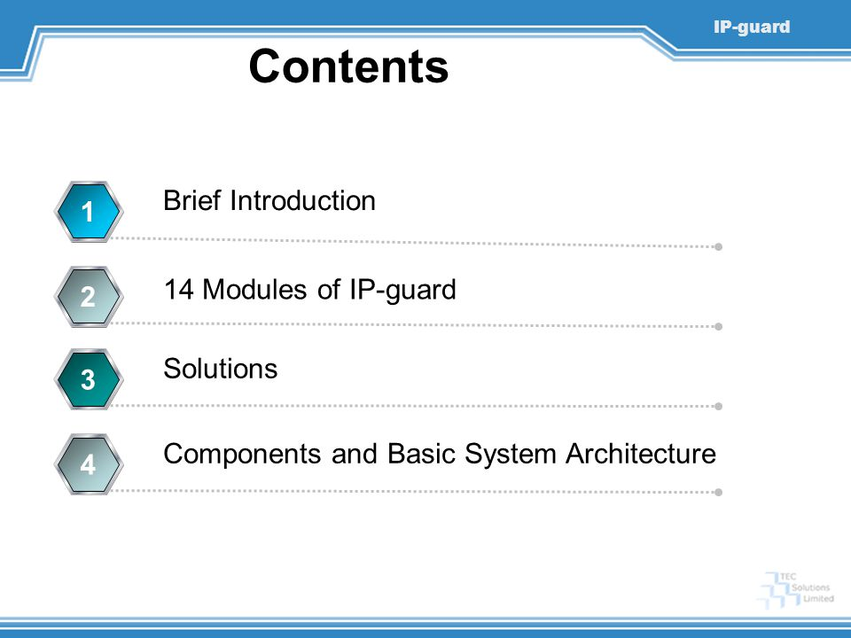 Contents Brief Introduction 1 14 Modules of IP-guard 2 Solutions 3