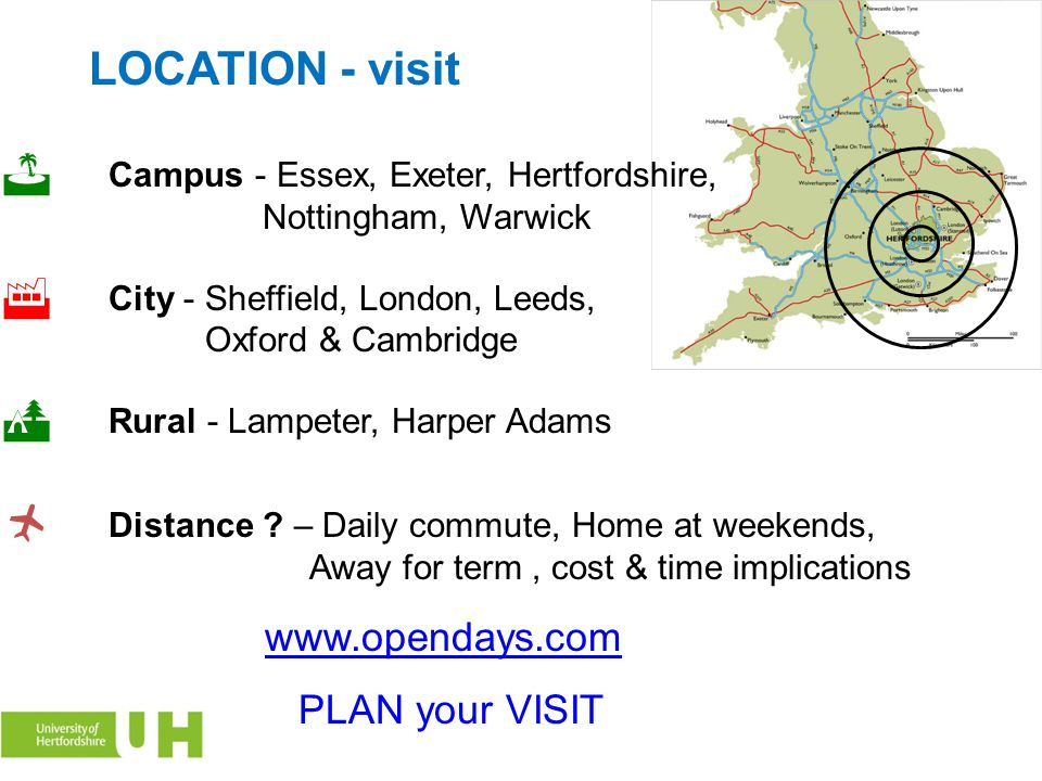 LOCATION - visit www.opendays.com PLAN your VISIT