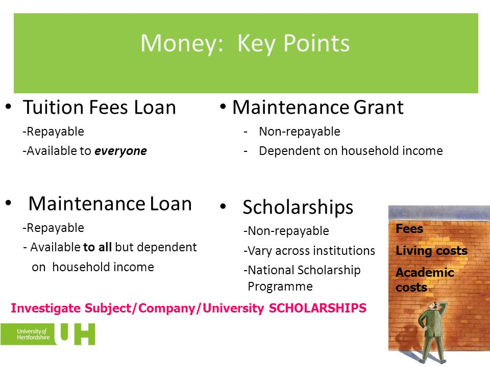 Money: Key Points Tuition Fees Loan Maintenance Loan Maintenance Grant