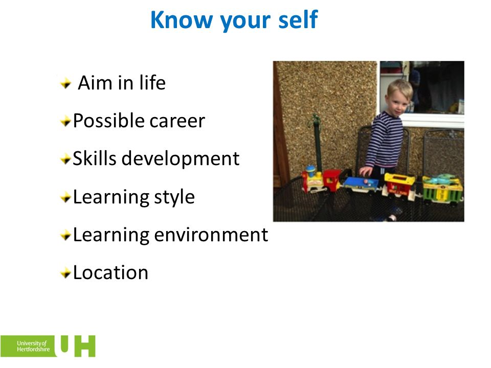 Know your self Aim in life Possible career Skills development