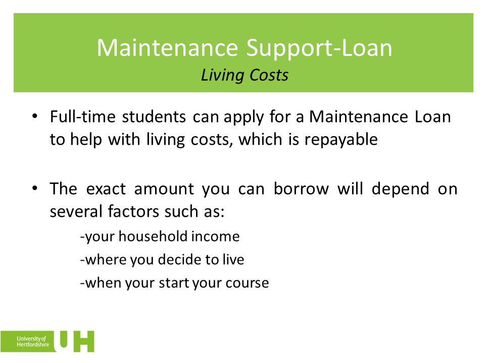 Maintenance Support-Loan Living Costs