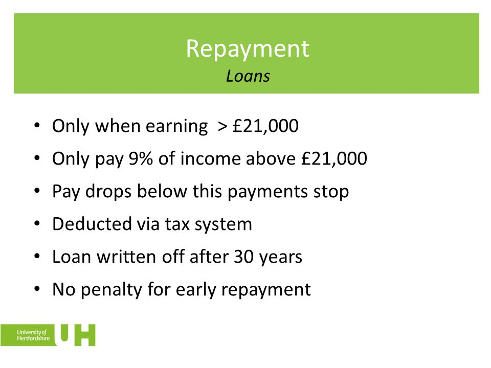 Repayment Loans Only when earning > £21,000
