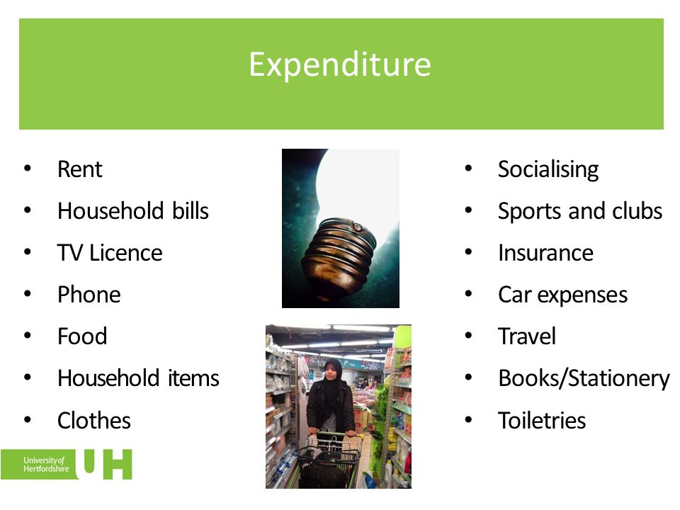 Expenditure Rent Household bills TV Licence Phone Food Household items