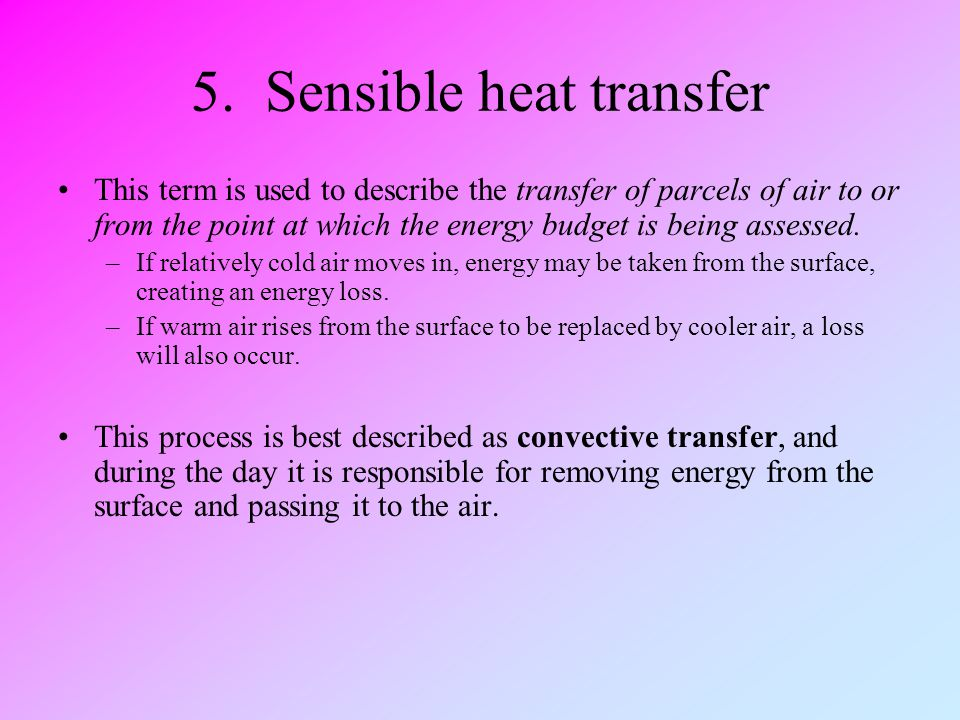 5. Sensible heat transfer