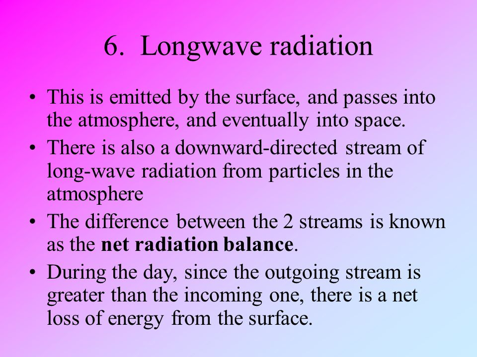 6. Longwave radiation This is emitted by the surface, and passes into the atmosphere, and eventually into space.