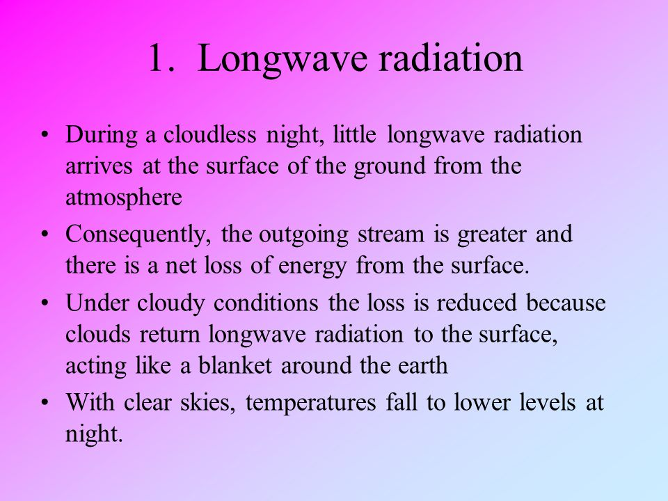 1. Longwave radiation During a cloudless night, little longwave radiation arrives at the surface of the ground from the atmosphere.