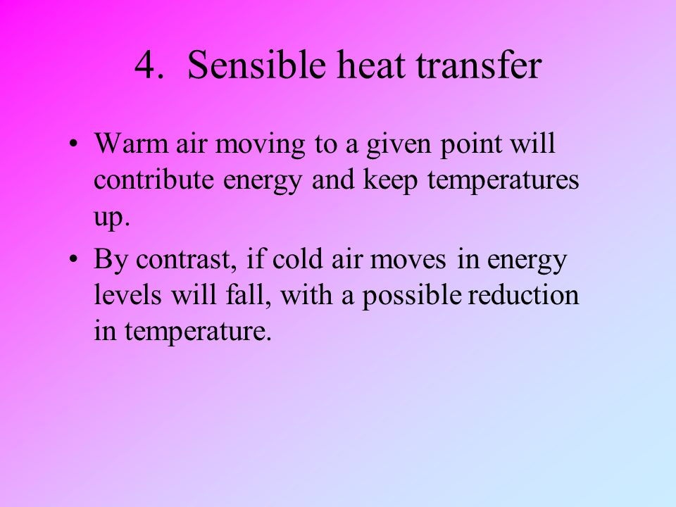 4. Sensible heat transfer