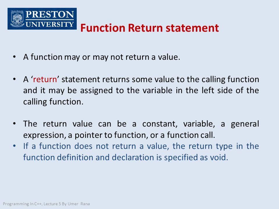 Function Return statement