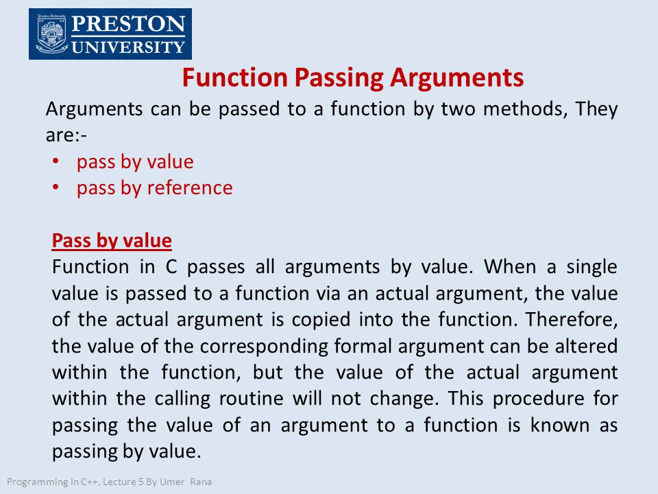 Function Passing Arguments