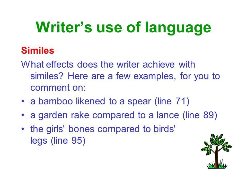 Writer's use of language