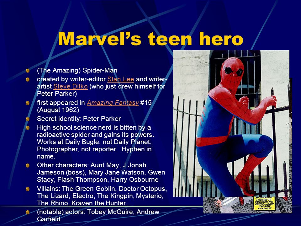 Marvel's teen hero (The Amazing) Spider-Man
