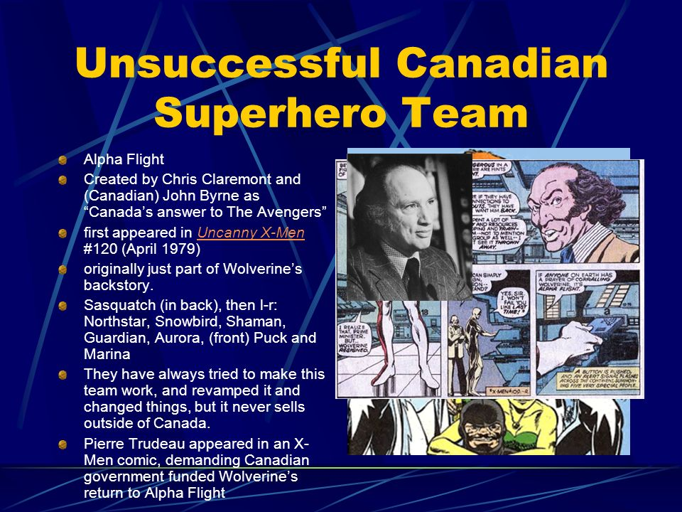 Unsuccessful Canadian Superhero Team