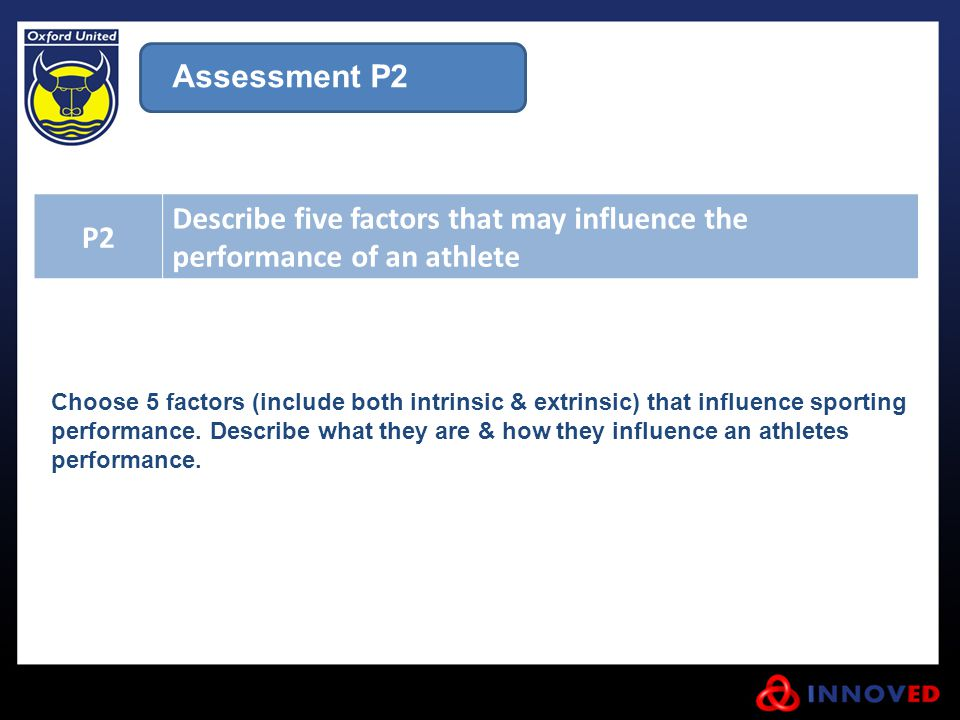 Describe five factors that may influence the performance of an athlete