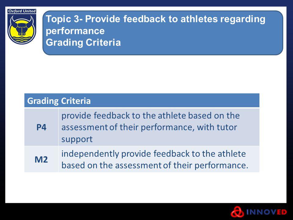 Topic 3- Provide feedback to athletes regarding performance
