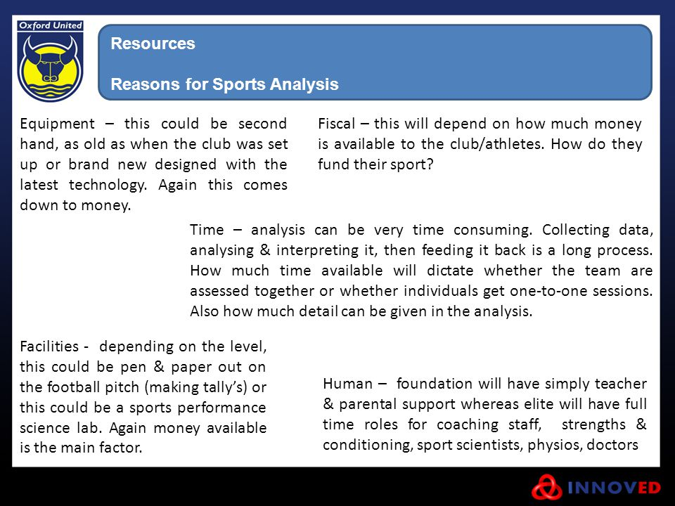 Resources Reasons for Sports Analysis.