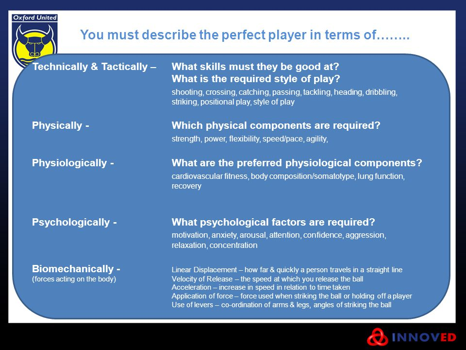 You must describe the perfect player in terms of……..